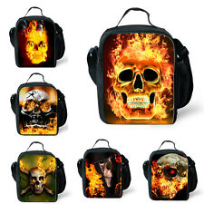 Fire skull Thermal Insulated Picnic Lunch Bag School Lunch Box Bag Travel Hiking
