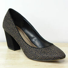 New M&S Faux Suede ANIMAL PRINT Mid Heel COURT SHOES ~ Size 7.5 ~ BLACK MIX