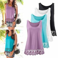 Casual Womens Lace Vest Summer Loose Sleeveless Tank T-Shirt Tops Blouse EH