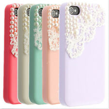 Luxury Bling Cute Pearl Lace Back Case Cover Pouch For Apple iPhone 4 4S 5 5S
