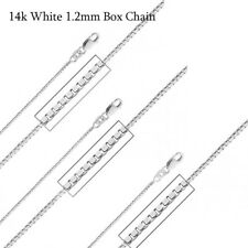 """14K SOLID WHITE GOLD ITALIAN 1.2MM  BOX CHAIN NECKLACE LOBSTER CLASP 16""""-24"""""""