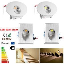Lot 1/10/20x LED Recessed Led Wall Step Light Stair Lamp White Round /Rectangle