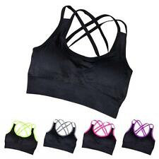 Girls Sports Bra Fitness Yoga Crop Tops Tank Gym Jogging Stretch Padded Seamless