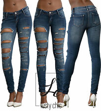New Womens Skinny Ripped Jeans Ladies Slim Fit Blue Denim Size 6 8 10 12 14