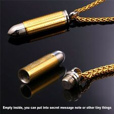 NEW BULLET PENDANT NECKLACE 18K GOLD OR BLACK GUN PLATED BIBLE CHRISTIAN JEWELRY