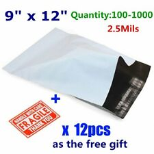 100-1000 9x12 Poly Mailers Shipping Envelopes Self Sealing Plastic Bags 2.5 Mil