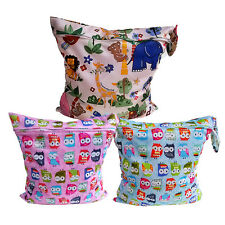 Waterproof Zipper Baby Cloth Diaper Nappy Wet Dry Bag Swimmer Tote Owl Animals