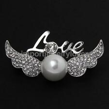 New Love Angell Wing Pearls Design Brooch Pins Costume Jewelry