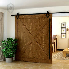 6.6FT/2010mm diamon  Hardware Wood Sliding  Track Barn Door Hardware  Black Kit