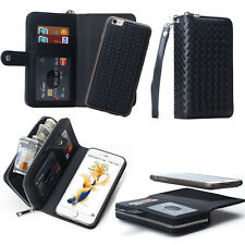 HQ Magnetic PU Leather Zipper Wallet Card Flip Case Cover For iPhone & Samsung