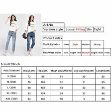 Women Sexy Denim Hole Jeans Straight Leg Trousers Ripped Mid Rise Pencil Pants