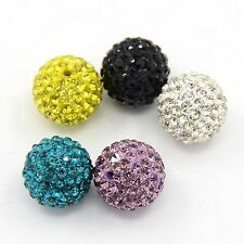 5pcs Hot Round Pave Disco Ball Beads Polymer Clay Rhinestone Charm Bracelets DIY