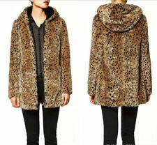 Leopard Womens Faux Fur Warm Coat Outwear Hooded Jacket Winter Thick Coat Parka