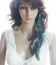 Boho Natural Exotic Feather Hair Extension Peacock Indian Hippy Tribal Hair Clip