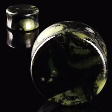 Pair Organic Green Eye Stone Ear Tunnels Ear Plugs Gauge Saddle Flared Jewelry