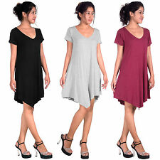 New Women Casual Short Sleeve Loose T-shirt V-Neck High Low Hem Tunic Blouse