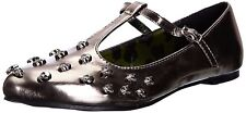 ABBEY DAWN TOUGH CROWD LADIES FLAT SHOES T BAR PEWTER GREY