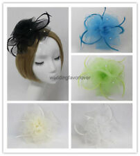 Flower Feather Beak Clip Fascinator Mesh Ladies Day Wedding Races Hair Piece