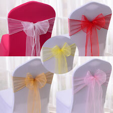 5 Pieces Sheer Organza Soft Chair Sashes Bows Wedding Party Decoration Banquet