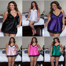 Big Plus Size Pajamas Nightgown Lace Silk Sleepwear with Sexy Underwear XXXL 4XL