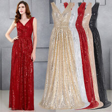 Sleeveless Pageant Bridal Gown Dress Sequins Long Party Evening Maxi Prom Sexy