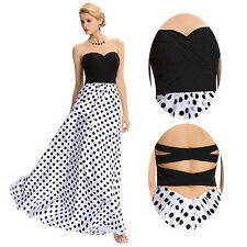 Sexy Strapless Polka Dot Formal Long Dress Evening Prom Maxi Cocktail Ball Gown