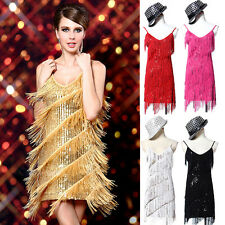 Shiny Sequin Tassel 20s Flapper Cocktail Party Latin Ballroom Dance Fringe Dress