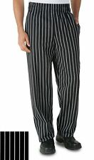 Uncommon Threads 4000 Classic Baggy Chef Pant 3 Inch Elastic Waist Chalkstripe
