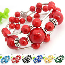 Special Offer, Tibetan Silver Gemstone Turquoise Coral Handmade Bangle SH