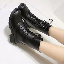 New Womens Pu Leather Lace Up Combat Military Ankle Boots Biker Shoes Plus Size