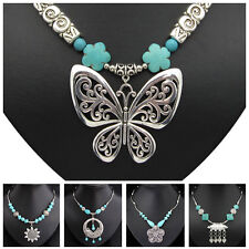 Special Offer Flower Butterfly Animal Turquoise Tibetan Silver Handmade Necklace