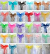 100 PCS Organza Chair Cover Sash Bow Wedding Anniversary Party Reception  Bows