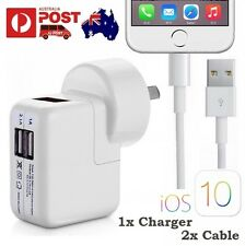 2A AU Plug USB Wall AC Charger 2x Cable for iPhone 7 6S Plus 5S iPad iPod iOS 10