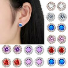 Zircon Earring Stud Plated Flower Design Round Earrings Women Fashion Jewelry