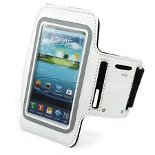 WHITE NEOPRENE SPORTS WORKOUT RUNNING GYM ARMBAND STRAP CASE for SMARTPHONES