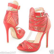 Womens red sandals dress peep toe ankle strap stilettos heels party prom shoes