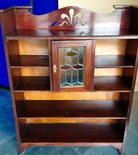 Antique Victorian Mahogany Bookcase with Stained Glass Feature