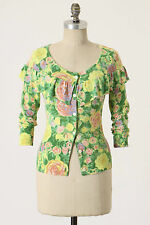 Anthropologie Colored Pencil Cardigan Sz M, Green Floral Ruffled, By Yellow Bird