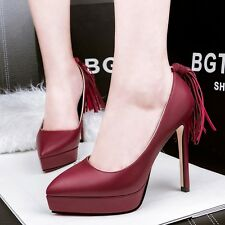 Simple Womens High Heels Platform Pumps Pointed Toe Tassels Stilettos Work Shoes