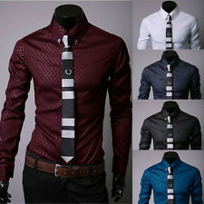 Fashion Men's Luxury Casual Shirts Slim Fit Dress Shirts Long Sleeve Button UK