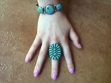 Santa Fe Gallery Native  American Silver Turquoise Cuff 3 Stones Artist Signed