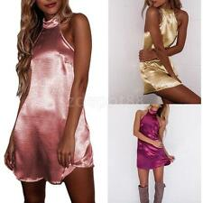 Womens Sexy Satin Dress Halter Backless Short Mini Dress Babydoll Party Clubwear