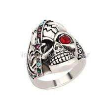 Male Charming Jewelry Individual Punk Skull Ring Antique Silver Crystal Men Ring