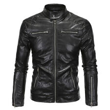 Stylish Mens Black Slim Fit Stand Collar PU Leather Jacket Overcoat Outwear Coat