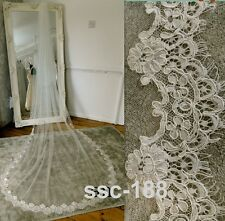 White Ivory 1 Tier Lace edge Cathedral Bridal Wedding Bride Veils 300CM Long c21