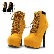 Sexy Women Pointed Toe Stiletto High Heels Lace Up Ankle Boots Shoes OO55