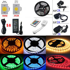 5M 12V 300LEDs SMD 3528/5050 RGB/White Flexible Strip Light+Remote+Power Supply