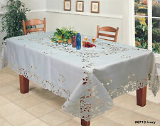 Creative Linens Embroidered Floral Tablecloth With Napkins Ivory 6713E