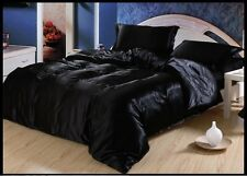 BEAUTI FUL BLACK SOLID 1000TC SATIN SILK FITTED/SHEET/DUVET CHOOSE SIZ&ITEM