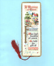 Vintage Bookmark Merry Xmas Wishes Greeting Card Friend Friendship Cottage Gifts